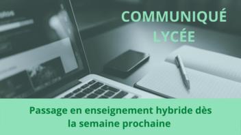 Communiqué passage en enseignement hybride